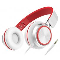 Alpexe - Casque Stéréo - Nouvelle Génération, Casque Audio supra-auriculaires, anti-bruit, léger et pliable - Compatible avec Pc, téléphones portables intelligents iPhone/Samsung/HTC Psp, tablettes Ipad Ipod, mp3 et mp4 Blanc/Rouge