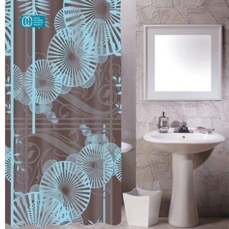 Msv - Rideau de douche polyester 180x200 ombrelles bleu et marron ...