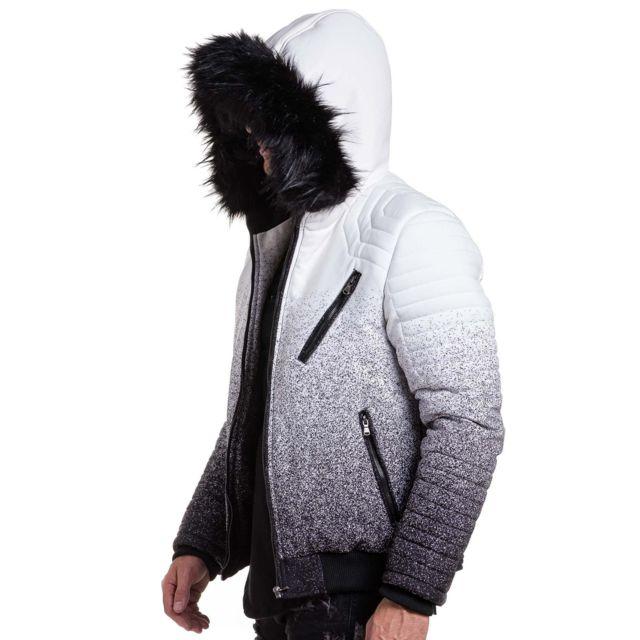 nouveaux styles f1936 bf16c Project X - Manteau homme blanc à capuche fourrure - pas ...