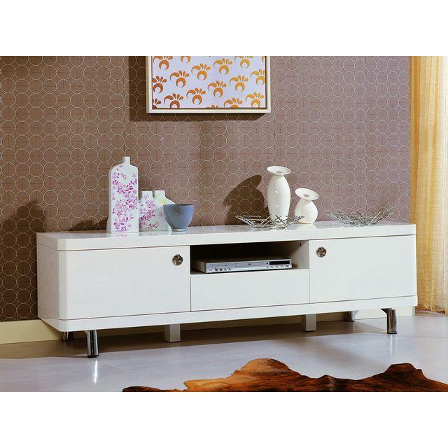 Habitat et Jardin - Meuble Tv Saxo en Mdf laqué blanc - 2 portes et ... ca0b4a46bb7c
