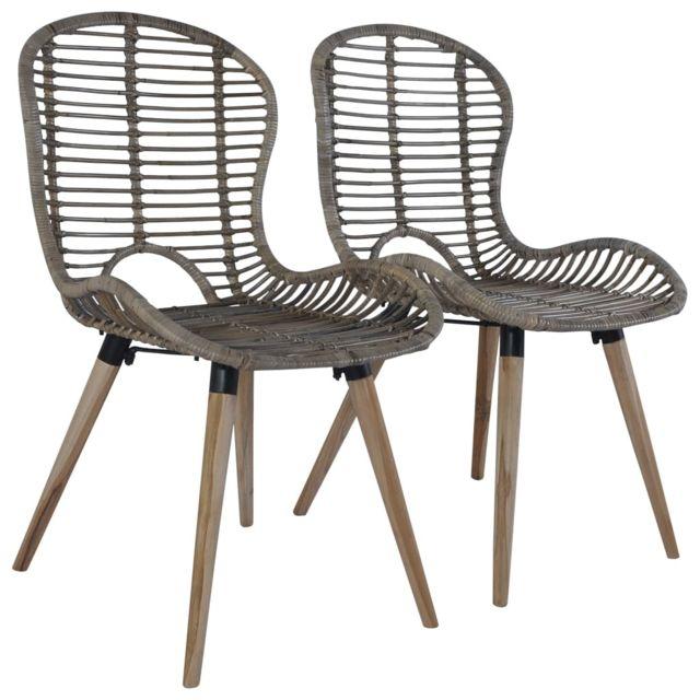 Chaise de jardin 2 pcs Rotin 48x64x85 cm Marron