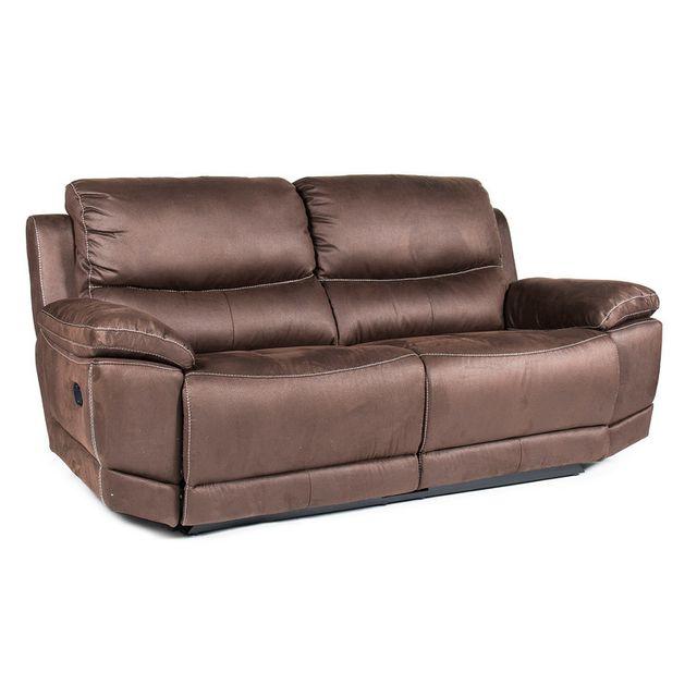 Momentime Canapé tissu 3 places 2 relax électrique avec surpiqûres contrastées Jerk - Chocolat