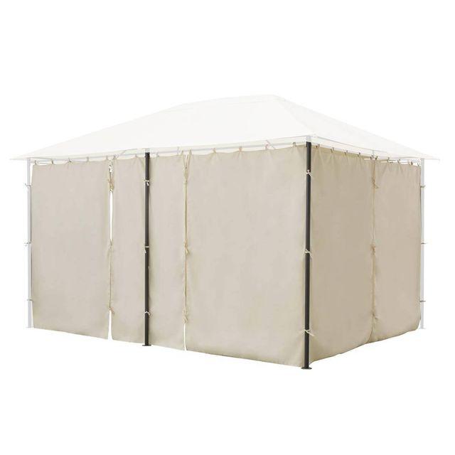HESPERIDE Jeu de 6 rideaux pour la tonnelle Santorini 3 x 4 m Ecru