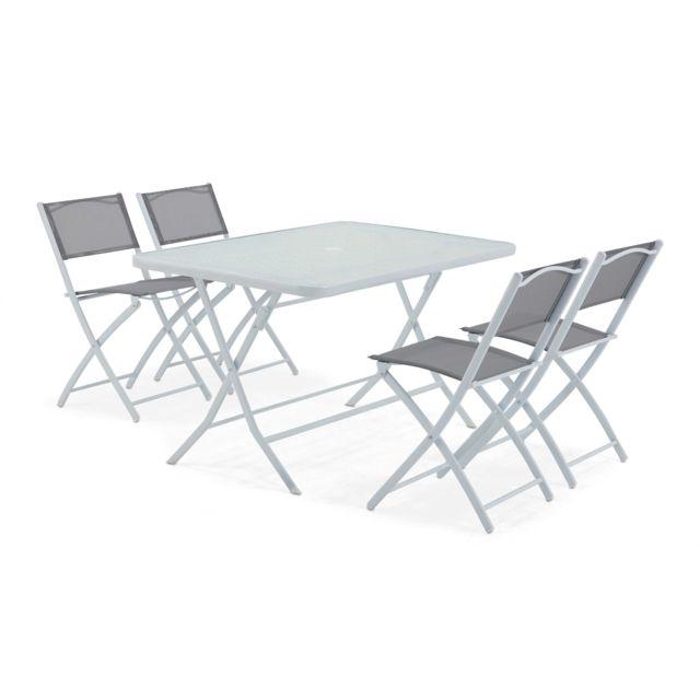 Table de jardin et 4 chaises pliantes en acier et verre - Gris