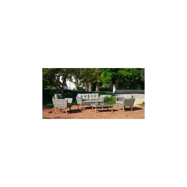 Hevea Salon De Jardin Sofa Merid en Acier Resine tressee beige grise Coussins couleur Gris Mariland Hev31889