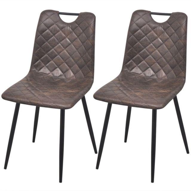 Sans Marque Chaises 2 pcs en cuir artificiel Marron foncé