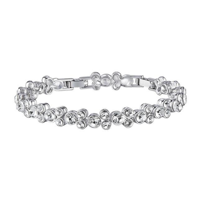 Blue Pearls - Bracelet en Cristal de Swarovski Element Blanc et Plaqué . d504cb42e71a