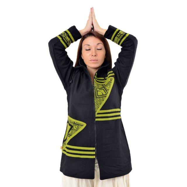veste polaire capuche teuf ethnique