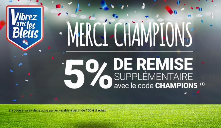 -5% de remise supplémentaire sur tout le site France champions du monde