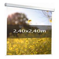 Kimex - Ecran de projection électrique 2,40 x 2,40m, Multi-format, Toile blanche