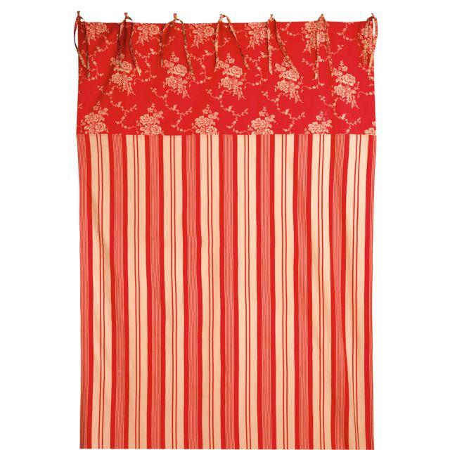 Comptoir de famille - Rideau à nouettes 100% coton rouge/ivoire ...