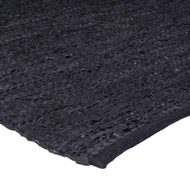 mon beau tapis tapis cuir 55x85 noir peau pas cher achat vente tapis rueducommerce. Black Bedroom Furniture Sets. Home Design Ideas