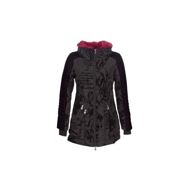 6e4f2e612c1 Desigual - Desigual Doudoune Femme Morgan Noir Motifs 18WWEWBG - Taille - 36