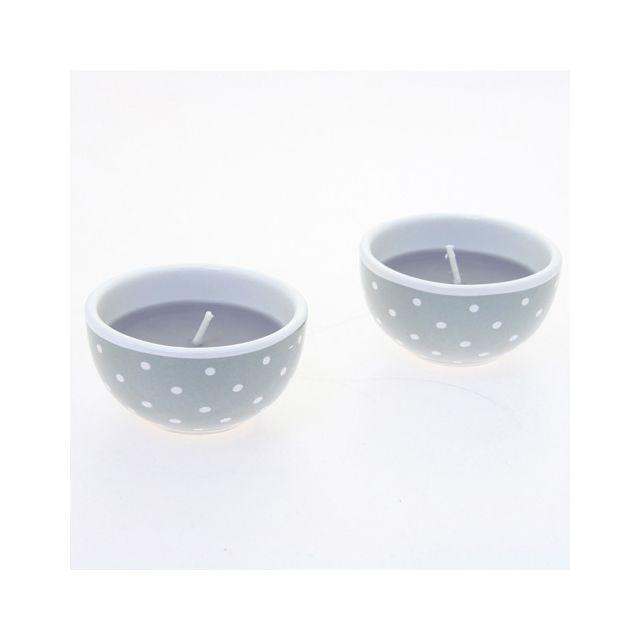 Comptoir Des Bougies Lot de 2 bougies avec imprimés motif cercles - Gris
