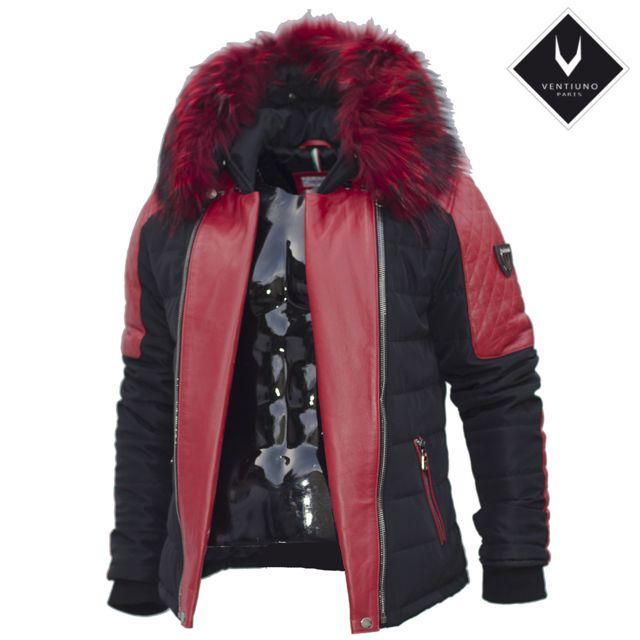 Ventiuno - Modena Veste Doudoune Bi-matière rouge fourrure épaisse véritable  rouge - cuir d agneau - doudoune , fourrure, veste, doudoune, cuir, homme -  pas ... c17c6dfc13af