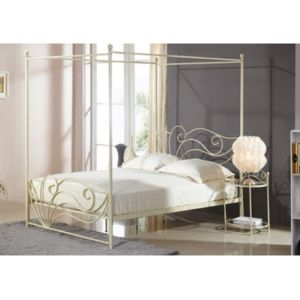 marque generique lit baldaquin imperatrice 140x200cm m tal fa on fer forg blanc 140cm. Black Bedroom Furniture Sets. Home Design Ideas
