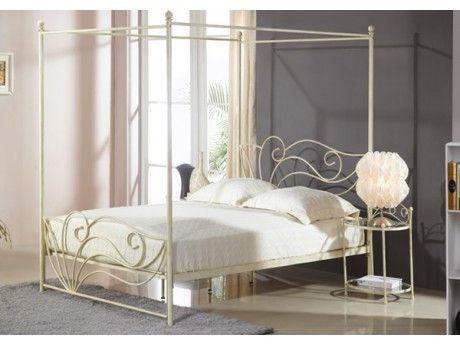 marque generique lit baldaquin imperatrice 140x190cm m tal fa on fer forg blanc 140cm. Black Bedroom Furniture Sets. Home Design Ideas