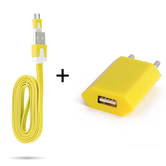 Shot cable noodle 1m chargeur prise secteur pour htc desire 816 smartphone micro usb murale pack universel android jaune