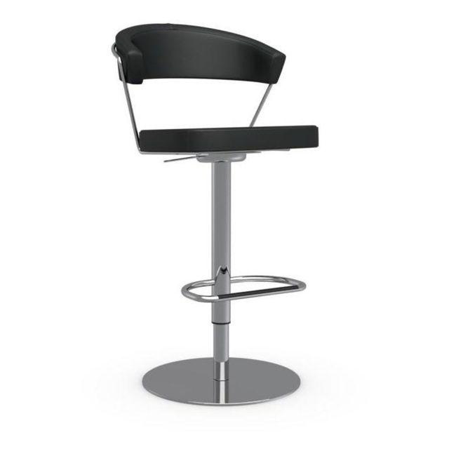 Inside 75 Chaise de bar New York design en cuir noir