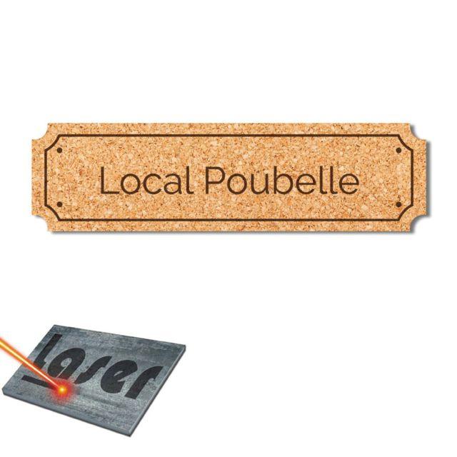 Plaque gravée autocollante 14,5x4cm Local Piscine fond rouge