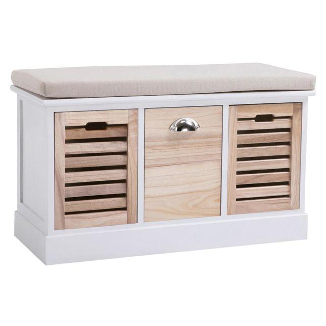 IDIMEX Banc de rangement TRIENT meuble bas coffre avec