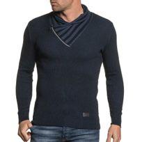 BLZ Jeans - Pull navy homme col châle zippé