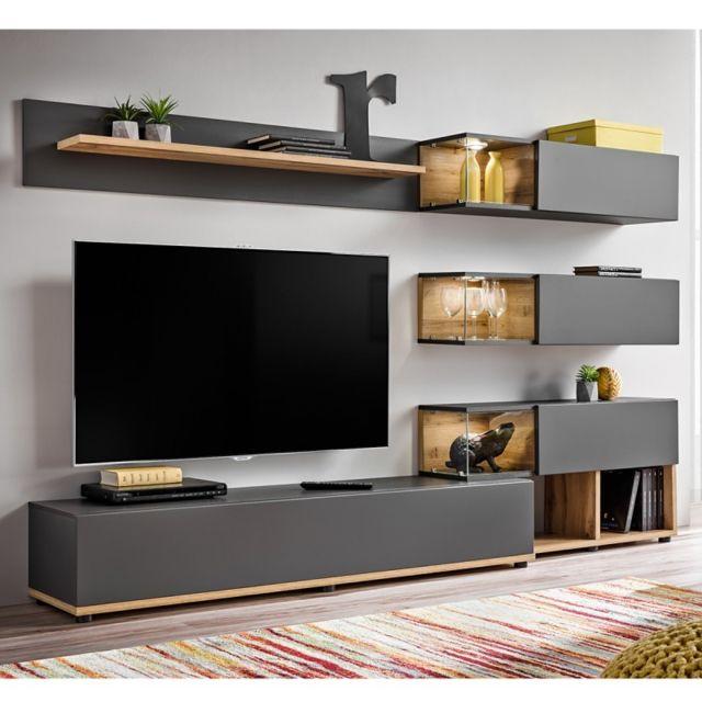 Paris prix meuble tv design silk 240cm gris naturel pas cher achat vente meubles tv for Meuble design bas prix