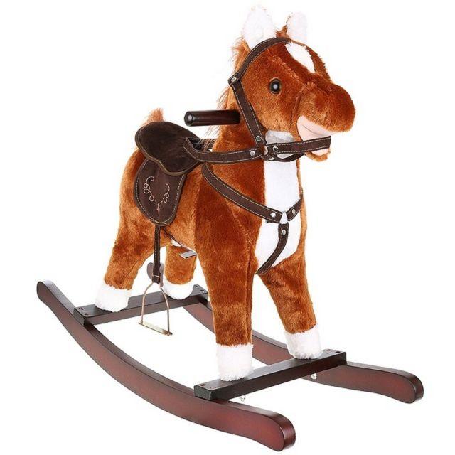 Sans Marque Cheval a bascule Sonore jouet enfant bebe marron