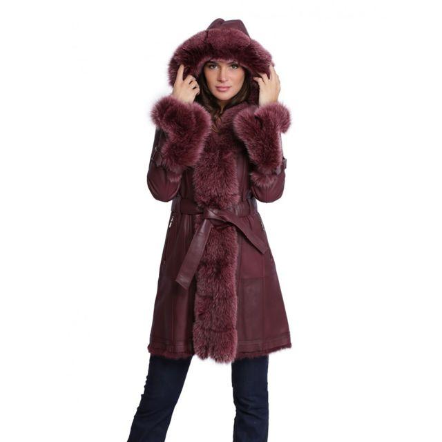 tout neuf 43f7b ae241 Manteau Newty de en fourrure femme bordeaux