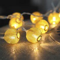 Xmas Living Glass - Net Ball - Guirlande 10 Boules Laiton Led L1,85m - Guirlande et objet lumineux designé par