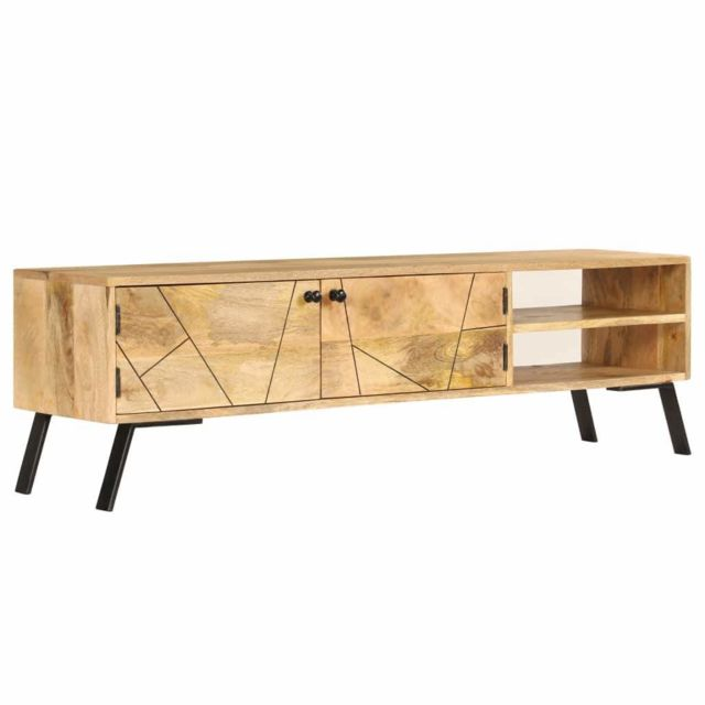 Helloshop26 Meuble télé buffet tv télévision design pratique bois de manguier massif 140 cm 2502142