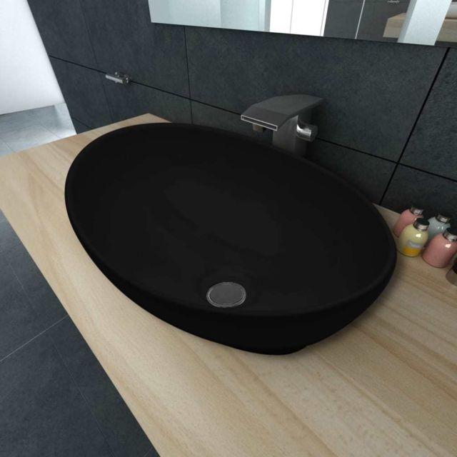 Vidaxl - Lavabo ovale Céramique 40 x 33 cm Noir - pas cher Achat ... f8ce7493e039
