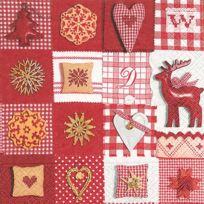 Graines Creatives - Serviette Patchwork red et white 20 pièces - Graine créative