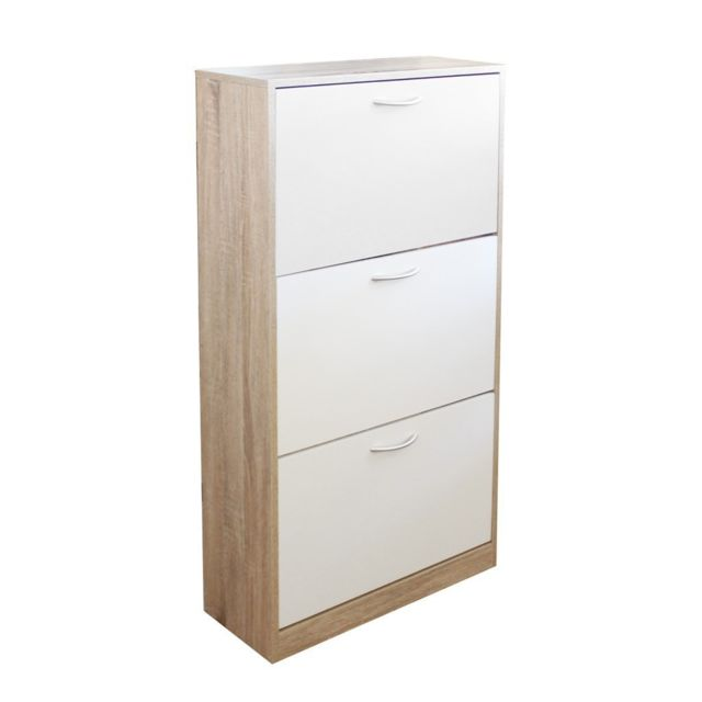 zons meuble chaussure mdf blanc3d 60x24xh117cm
