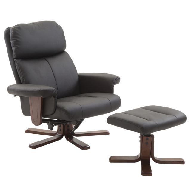 HOMCOM Fauteuil relax style contemporain grand confort inclinable pivotant repose-pieds intégré bois simili cuir noir