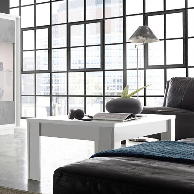 Sofamobili Table basse design blanc laqué mat Hamilton