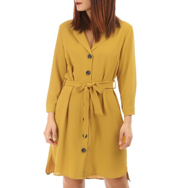 364920ff1a8 Lamodeuse - Robe moutarde fluide avec boutons - pas cher Achat ...