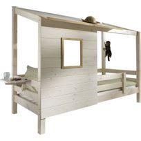 Comforium - Lit en pin massif coloris blanc 90x200 avec fenetre style cabane