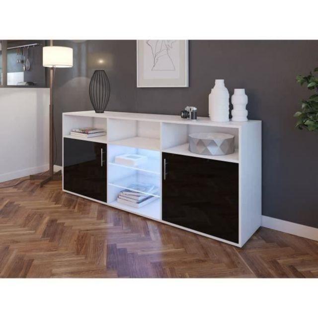 BUFFET - BAHUT - ENFILADE KORA Buffet bas avec LED contemporain noir brillant et blanc mat - L 180 cm