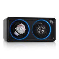 KLARSTEIN - 8LED2S Remontoir automatique 2 montres noir effet LED bleu