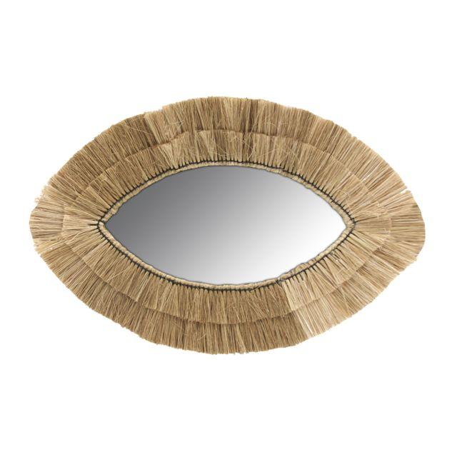 AUBRY GASPARD Miroir oeil en jonc naturel