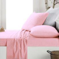 Just Contempo - Drap-housse En Flanelle BrossÉE 100 % Coton Couleur Unie, 100 % Coton, Rose, Double