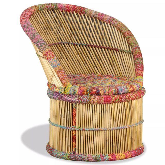 Moderne Fauteuils serie Tokyo Chaise Bambou avec Détails Chindi Multicolore