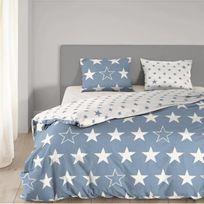 Good Morning - Parure de couette Stars - 1 housse de couette 200x200 cm + 2 taies 60x70 cm bleu et blanc