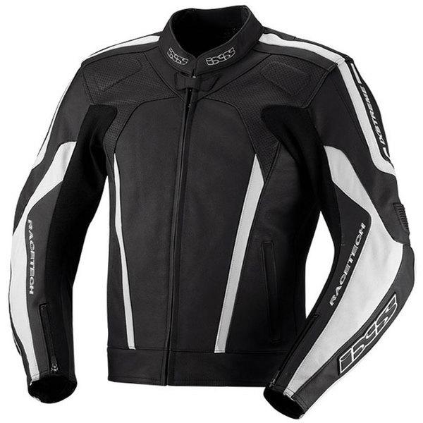 blouson moto Kuma cuir homme Racing toutes saisons noir-blanc Promo 54