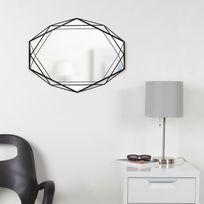 Miroir mural forme géométrique en métal Prisma - Noir