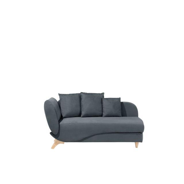 BELIANI Canapé gris foncé côté gauche MERI - noir