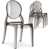 menzzo lot de 4 chaises mdaillon diva plexi transparent fum - Chaise Moins Cher