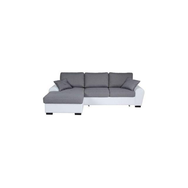 Sans Marque Jena Canape Dangle Gauche Convertible 3-4 Places + Coffre De Rangement - Tissu Gris Clair Et Simili Blanc - L 248 X P 17