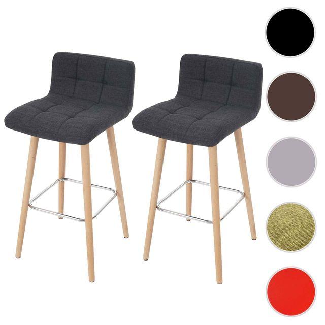 2x Tabouret De Bar Malmo T430 Chaise Bar Comptoir Design Retro En Bois Gris Fonce Tissu